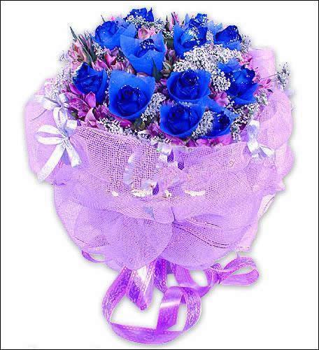 鲜花图片:圆形花束:19枝红玫瑰,满天星,配叶,两只可爱小公仔